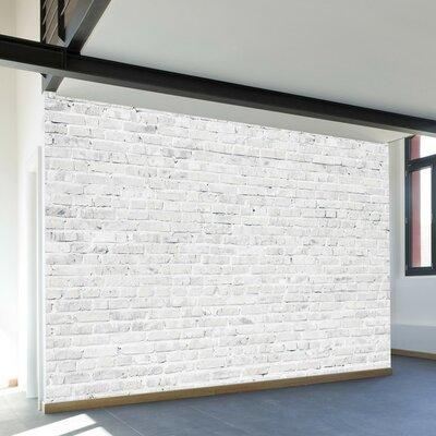 Washed Brick Adhesive Wall Mural Size: 96