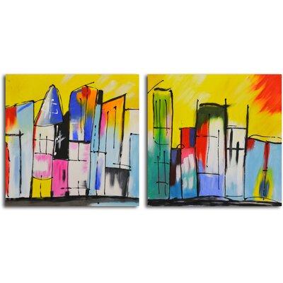 'House of a Different Colour' 2 Piece Original Painting on Canvas Set A 3274