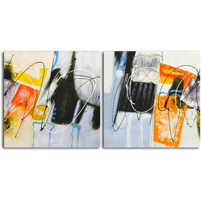 'Colouring Outside the Lines (I and II)' 2 Piece Original Painting on Canvas Set A 3116