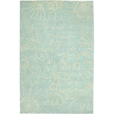Avant Garde Hand-Knotted Wool Skyblue Floral Area Rug Rug Size: Rectangle 36 x 56