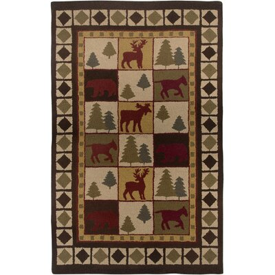 Country Hand-Tufted Wool Brown Area Rug Rug Size: 5 x 8