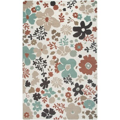 Country Hand-Tufted Wool White Area Rug Rug Size: 8 x 10