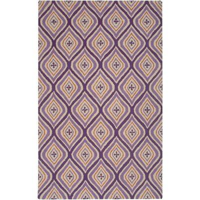 Country Hand-Tufted Wool Plum Area Rug Rug Size: Round 8