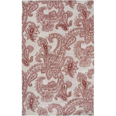 Floral Hand-tufted Wool Beige/Red Area Rug Rug Size: Rectangle 9 x 12