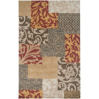 Bentley Hand-Tufted Wool Rust Persian Area Rug Rug Size: 5 x 8