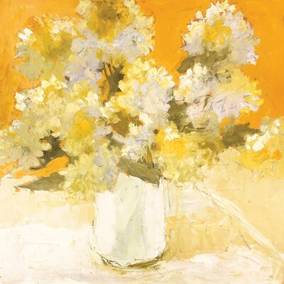 'White Hydrangea Bouquet' Painting Print on Wrapped Canvas