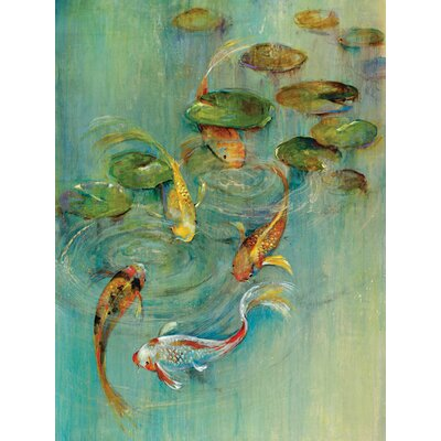 'Koi at Play' Painting Print on Wrapped Canvas