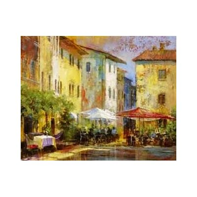 'Courtyard Cafe' Painting Print on Wrapped Canvas