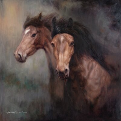 'Horses' Painting Print on Wrapped Canvas