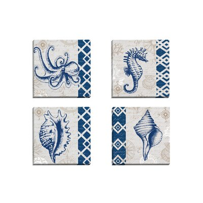 Tahiti Octopus by Elena Vladykina 4 Piece Graphic Art on Wrapped Canvas Set | 50 Nautical Inspired Ideas For Home Decor | Inexpensive Nautical Decor | DIY Home Decor | theMRSingLink