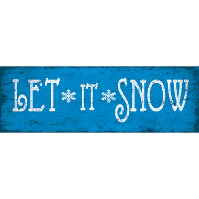 'Let It Snow 1' Textual Art on Wrapped Canvas in Blue