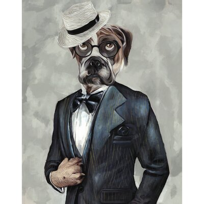 'Tuxedo Dog IV' Print on Wrapped Canvas Size: 14