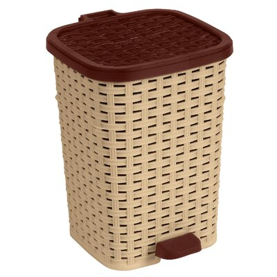 Superior Performance 1.6-Gal. Rattan Compact Trash Bin - Color: Beige and Brown
