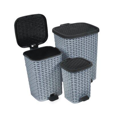 superior performance 3 piece plastic trash can set color grey black