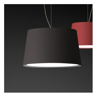 Warm Medium Pendant with Fluorescent Shade Color: Red