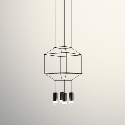 Wireflow 3D Square 4-Light Geometric Pendant