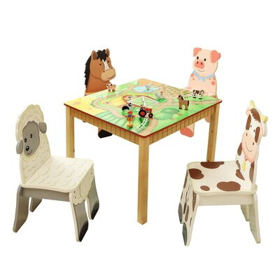 Happy Farm Kids 5 Piece Table and Chair Set TD-11324S4