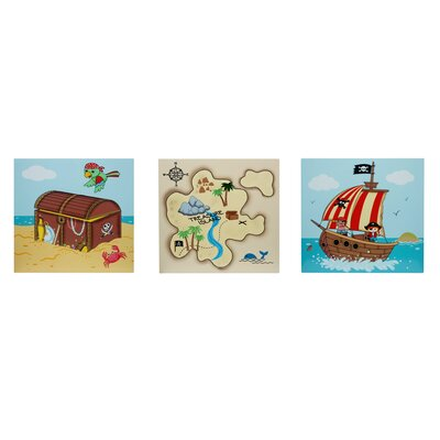 Pirate 3 Piece Graphic Art Print Plaque Set TD-11633A