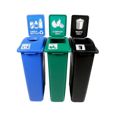 Waste Watcher® Cans and Bottles Slot Compost Circle 69 Gallon 3 Piece Recycling Bin Set