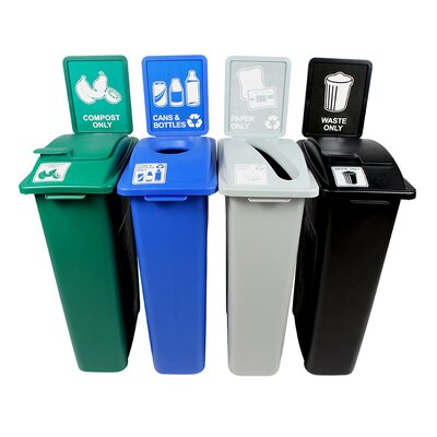 Waste Watcher® Paper, Cans and Bottles Slot Compost Circle Solid Lift 92 Gallon 4 Piece Recycling Bin Set