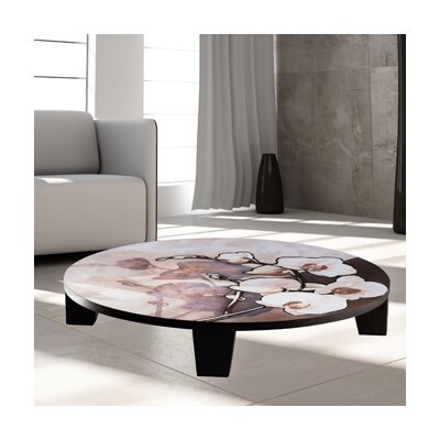 White on Brown Coffee Table Size: 44 (Diameter)
