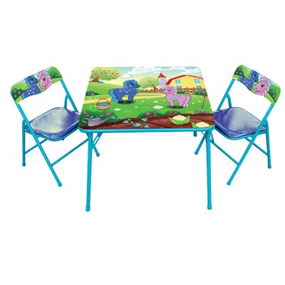 Pony Kids' 3 Piece Square Table and Chair Set GS-75049