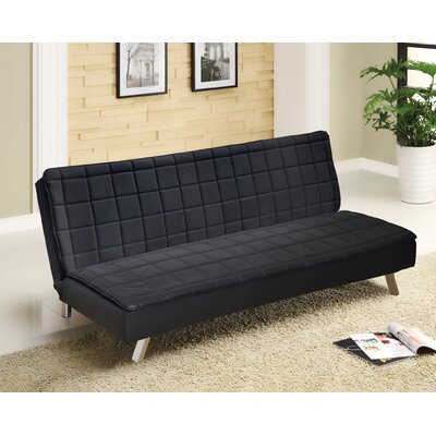 Urban Shop Memory Foam Convertible Sofa Upholstery: Black