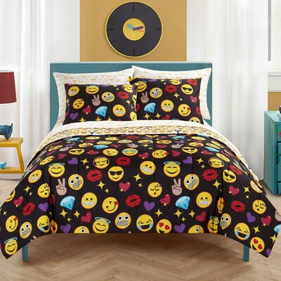Emoji Pals Reversible Comforter Set Size: Queen