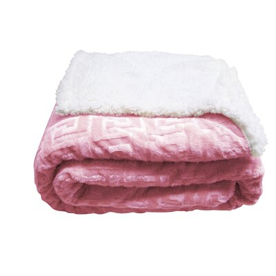 Ronda Textured Sherpa Throw Blanket Color: Light Pink
