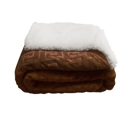 Ronda Textured Sherpa Throw Blanket Color: Brown