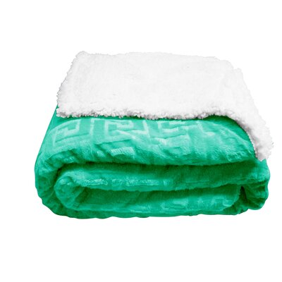 Ronda Textured Sherpa Throw Blanket Color: Light Green