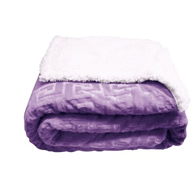 Ronda Textured Sherpa Throw Blanket Color: Lavender