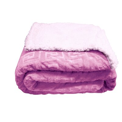 Ronda Textured Sherpa Throw Blanket Color: Pink