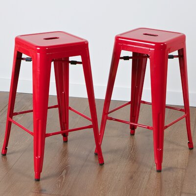 Kristen 30 Bar Stool Upholstery: Red