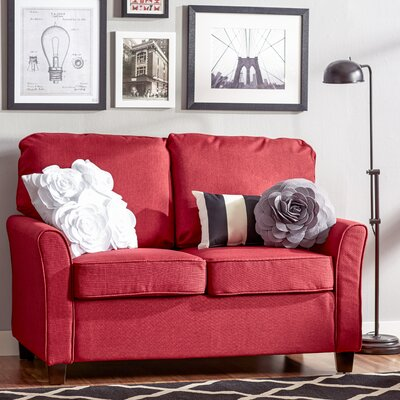 Aubrey Loveseat Upholstery: Red