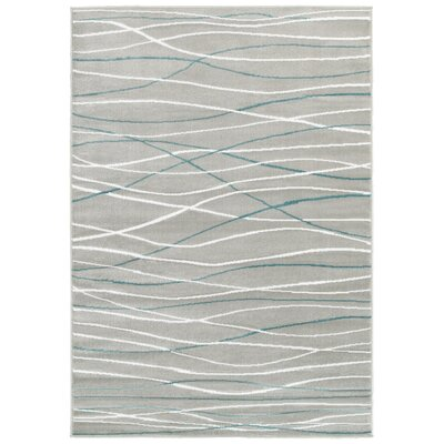 Grace Cream/Blue Area Rug Rug Size: 36 x 56