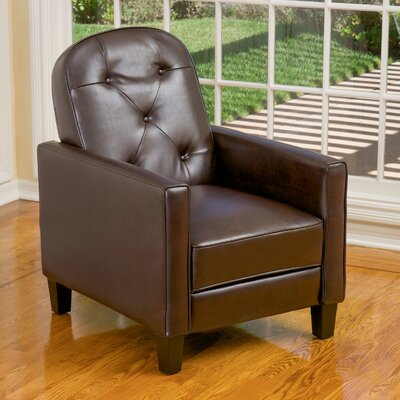 Emily Tufted Recliner Upholstery: Brown