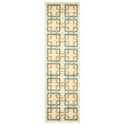 Dennis Ivory/Blue Area Rug Rug Size: Rectangle 53 x 73
