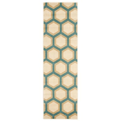 Jillian Teal/Ivory Area Rug Rug Size: Rectangle 710 x 106