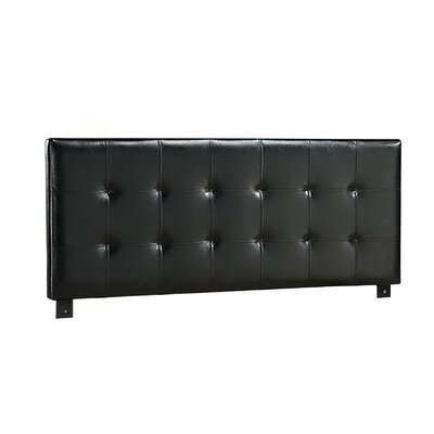 Alex Upholstered Panel Headboard Size: Full, Finish: Black Faux Leather