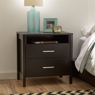 Lupe 2 Drawer Nightstand Color: Espresso