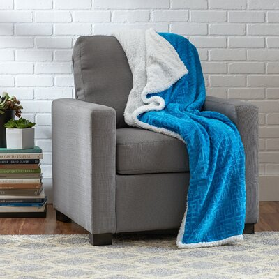 Ronda Textured Sherpa Throw Blanket Color: Blue