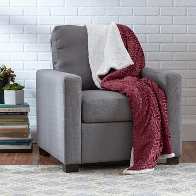 Ronda Textured Sherpa Throw Blanket Color: Dust Rose