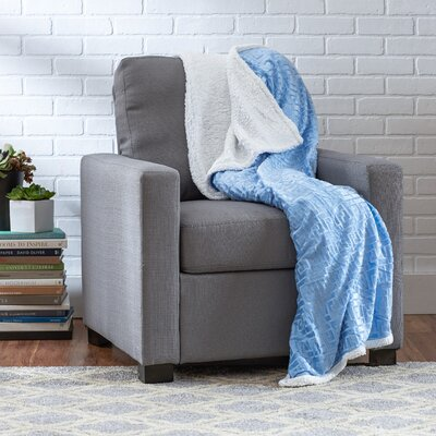 Ronda Textured Sherpa Throw Blanket Color: Light Blue