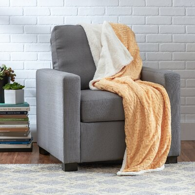 Ronda Textured Sherpa Throw Blanket Color: Light Gold