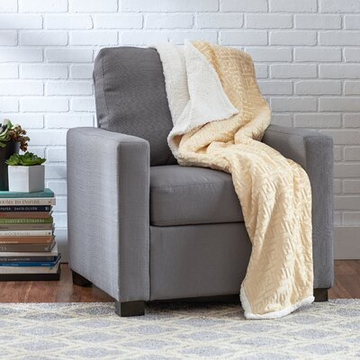 Ronda Textured Sherpa Throw Blanket Color: Ivory
