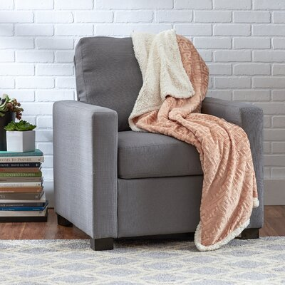 Ronda Textured Sherpa Throw Blanket Color: Light Tan