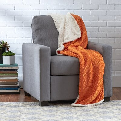 Ronda Textured Sherpa Throw Blanket Color: Orange