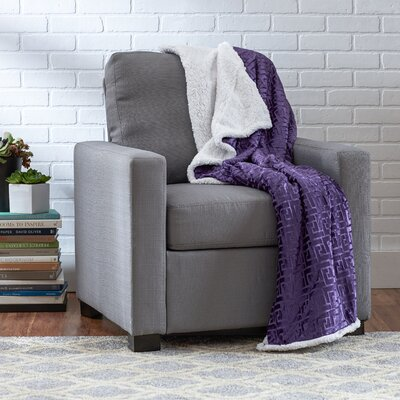 Ronda Textured Sherpa Throw Blanket Color: Purple