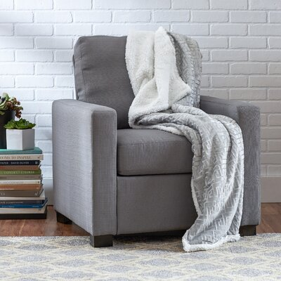 Ronda Textured Sherpa Throw Blanket Color: Silver